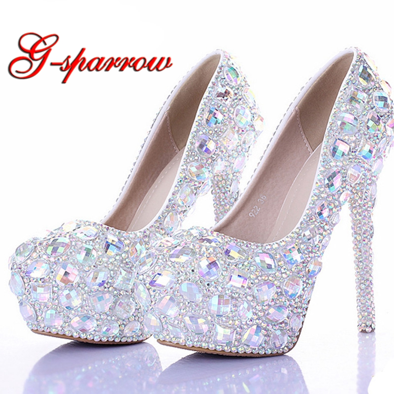 AB Crystal Diamond Exquisite Wedding Shoes Sparkling Rhinestone Handcraft Bridal Shoes Thin Heel Evening Prom Party Women Pumps ab crystal heels luxury diamond platform bridal pumps wedding shoes lady sparkling prom party shoes mother of bride shoes