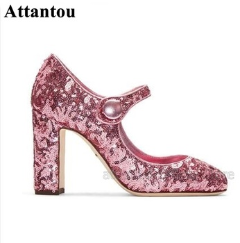 Fashion Glitter Block High Heel Dress Shoes Women  Round Toe Mary Janes Chunky Heeled Pumps Wedding Party Shoes
