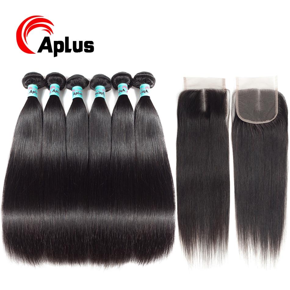 Aplus Hair Brazilian Hair Weave Bundles With Closure Silky Straight Hair 6 Bundles With Closure With Baby Hair Non Remy 6-24inch