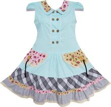 Sunny Fashion Flower Girl Dress Blue Cute Colorful Collar Back School Uniform Cotton 2017 Summer Princess Wedding Size 6-14