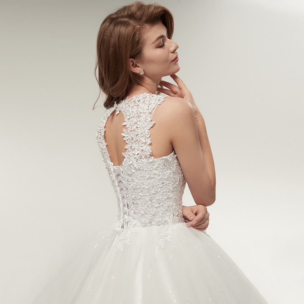 Korean Princess Style Lace Up Ball Gown Quality Wedding Dress 5