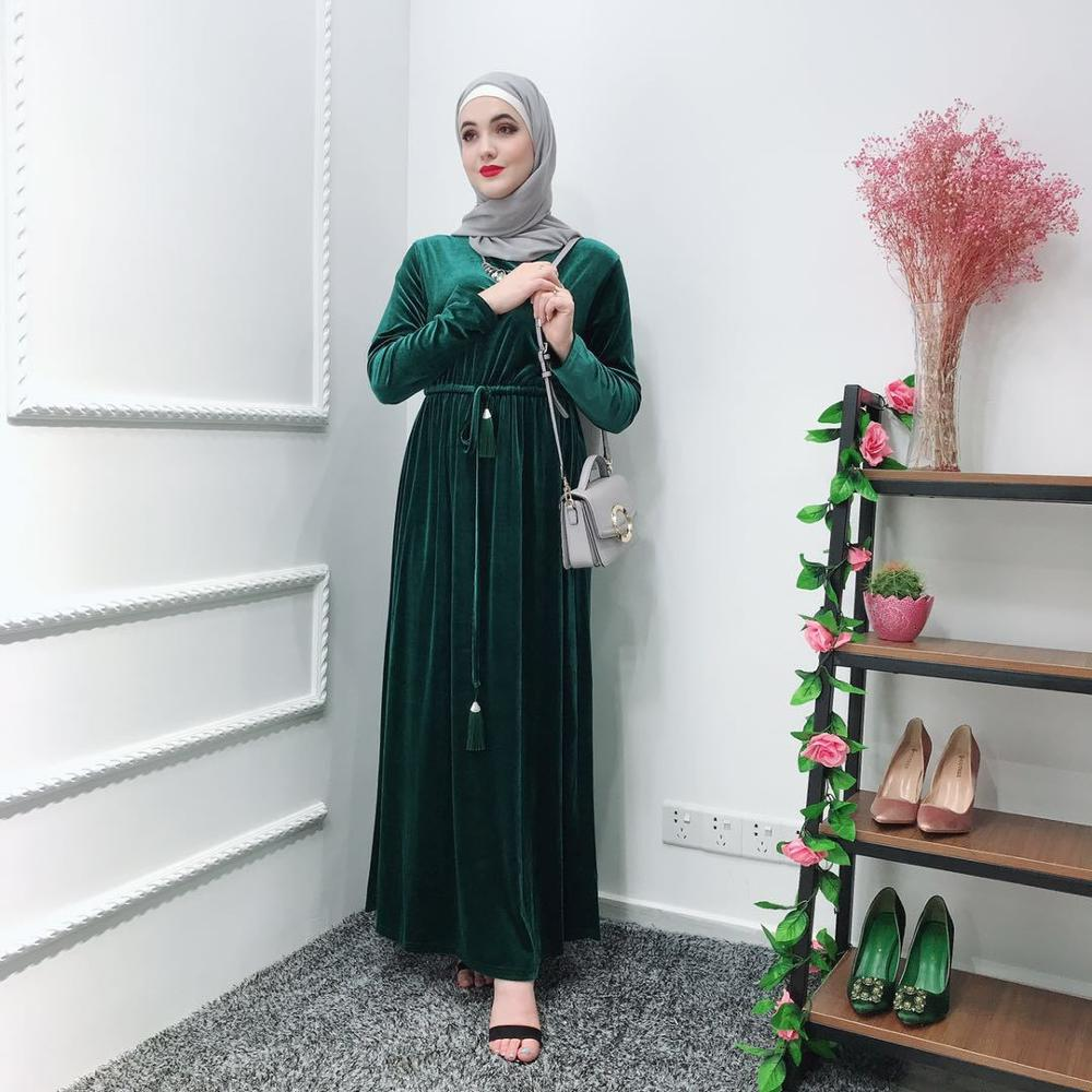 2019 femmes Musulman Abaya robe Caftan Abaya turquie robe Caftan Marocain islamique robe Kimono Ramadan Elbise Musulman