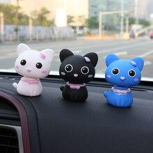 купить Car Accessories Automobile Interior Dashboard Cartoon Nodding Toys Lovely Shaking Head Cat Figures Doll Auto Ornaments Styling дешево