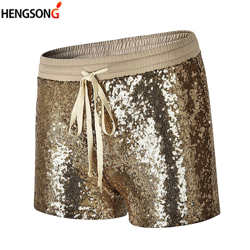 Women's Casual Shorts Summer Short Pants Drawstring Elastic Waist Dancing Shorts Gold 2018 New Fashion Sexy Club Sequined Shorts