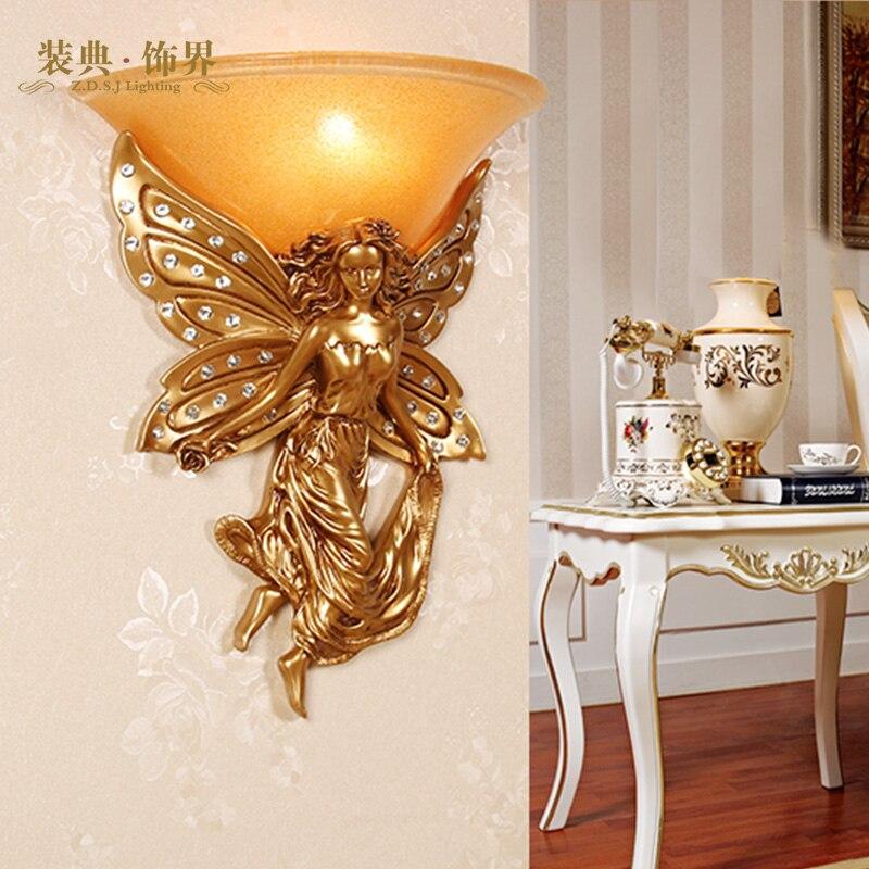 European Angel Shaped Resin Wall Lamp Elephant Shaped Resin Wall Lamp Vintage European Style Wall Lamps For Living Room недорго, оригинальная цена
