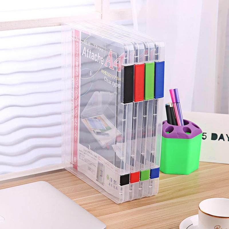 Vividcraft School Office Supplies A4 Clear File Tranparent Plastic Document Cases Desk Paper Organizers Holders Storage Box comix mc 55 a4 practical plastic file box information boxes document files box storage cases paper organizer office supplies