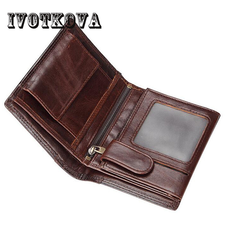 IVOTKOVA Wallet Men Genuine Leather Men Wallet Male Short Card Holder Hasp Small Coin Purse Money Men's Purse Male Wallet цена 2017