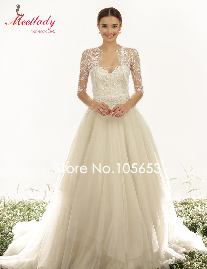 Elegant A line Sweetheart Long Sequin Plus Size Wedding Dress With 3 ...