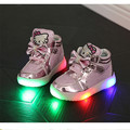2017 olá kitty big kids shoes crianças da escola shoes com Meninas Sapatilhas chaussures enfants fille Ouro luz Led Light Up shoes
