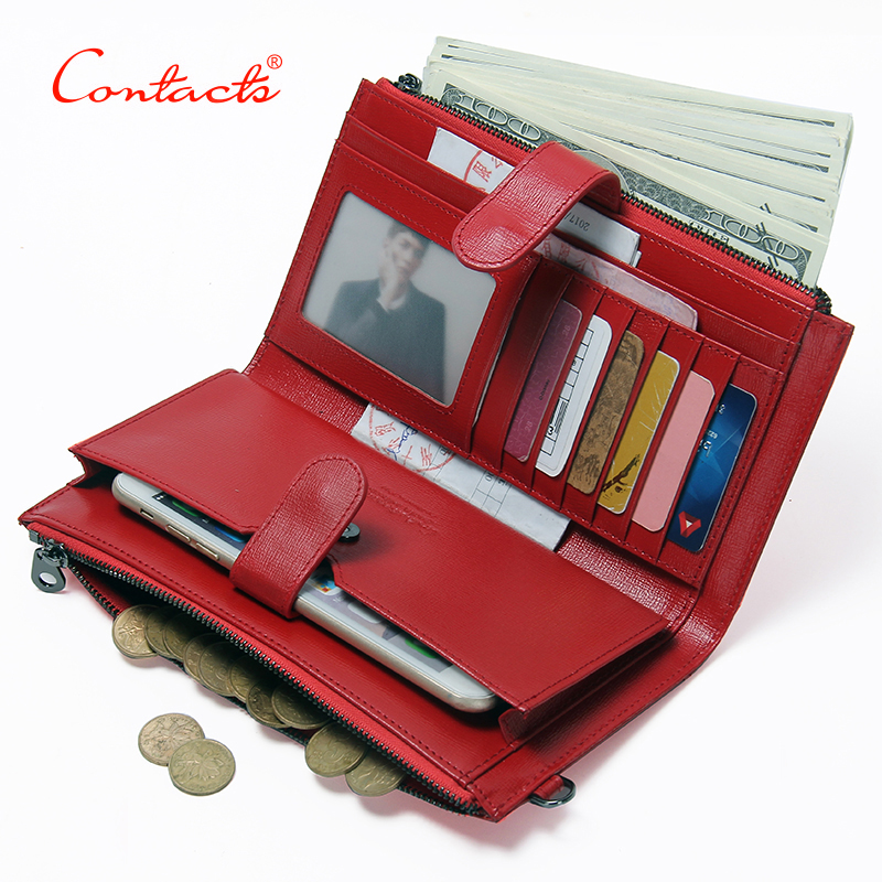 CONTACT'S Genuine Leather 2017New Wallet Female Purse phone women purse designer candy color clutch coins Card Holder money bag