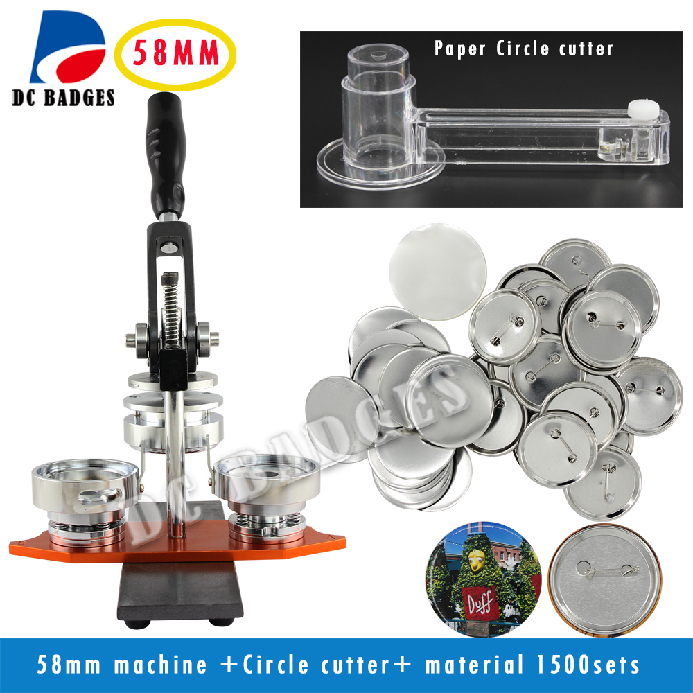 High Quallity Factory Directly Selling 2-1/4 58mm Badge Button Maker Machine +Circle Cutter+1500 Sets Metal Pinback Supplies free shipping new pro 1 1 4 32mm badge button maker machine adjustable circle cutter 500 sets pinback button supplies