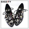Британский уличный стиль череп pattern женщины brogue оксфорд обувь цветка печати повседневная ходьба бездельник обувь