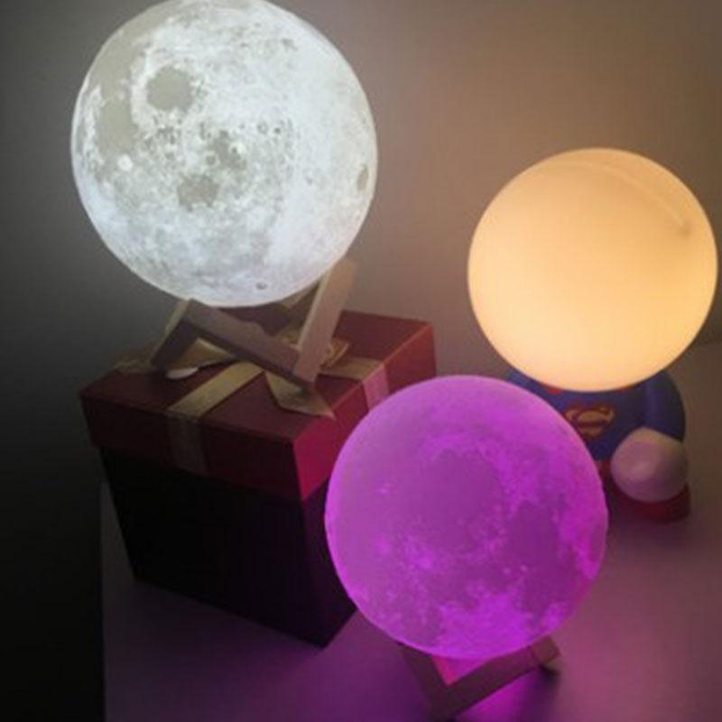 Luminaria Colorful 3D 12CM Night Light Desk Table Lamp Moonlight Lunar Present Remote Home Decoration creative tractor shaped 3d led desk light colorful car night light remote control indoor lighting acrylic table lamp wholesale