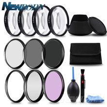 49 52 55 58 62 67 72 77 MM Macro Close-up Filter +1+2+4+10 Set+ UV CPL FLD +ND2 4 8 Camera Lens Filter+Hood for Canon Nikon Sony(China)
