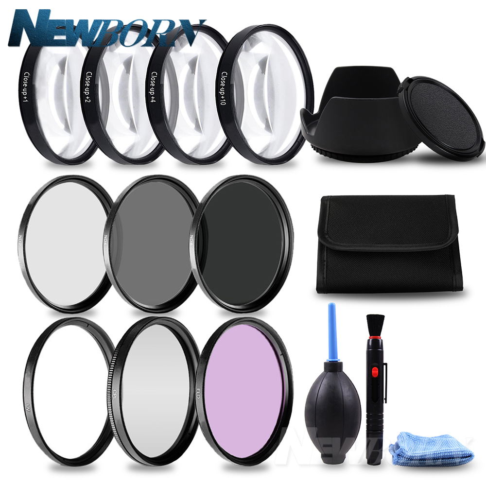 49 52 55 58 62 67 72 77mm filtro Macro Primer plano + 1 + 2 + 4 + 10 Set + UV CPL FLD + ND2 4 8 Filtro de lente de cámara + capucha para Canon Nikon Sony