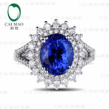 CaiMao 18KT/750 White Gold 2.76 ct Natural IF Blue Tanzanite AAA 0.92 ct Full Cut Diamond Engagement Gemstone Ring Jewelry