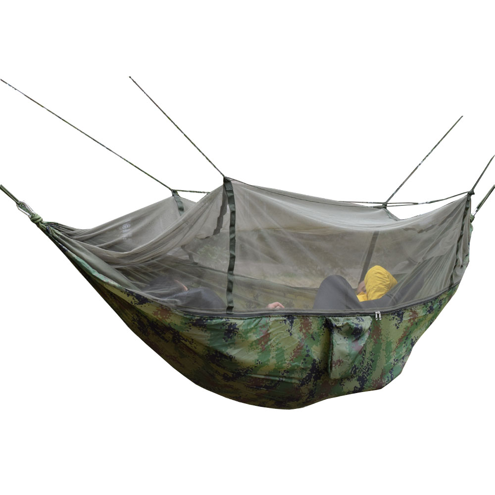 Camouflage Outdoor Camping Hunting Mosquito Net Parachute Hammock 2 Person Flyknit Hamaca Garden Hamak Hanging Bed Leisure Hamac 2 3 person king size hammock outdoor survival camping hamak leisure patio garden terrace double hamaca 300 200cm 118 78 inch