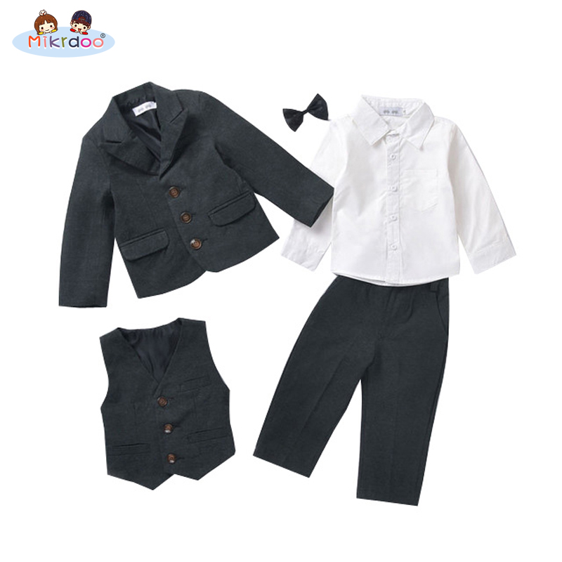 Baby boy clothes blazers kids gentleman suit tuexdo terno clothing set coat shirt vest pants wedding formal children costume new new 2018 spring fashion baby boy clothes gentleman suit short sleeve stitching plaid vest and tie t shirt pants clothing set