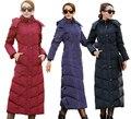 2016 Mulheres Novas de Inverno Moda Sólidos Longo Para Baixo Casaco Feminino Over-knee Espessamento Plus Size Fino Outerwear