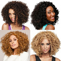 Heat Resistant Black Brown Omber African American Medium Long  Afro Curly Wigs for Black Women Perruque Synthetic Women