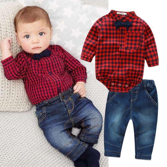 2 pcs Crianças Meninos Roupa Do Bebê Conjunto Bodysuit Macacão de Manga Comprida Xadrez Encabeça Calça Jeans Calças Roupas de Bebê Menino Conjunto de Roupas