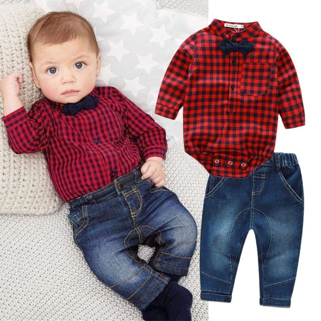 2pcs Kids Baby Boys Clothes Set Bodysuit Jumpsuit Long Sleeve Plaid Tops Jeans Pants Outfits Baby Boy Clothing Set