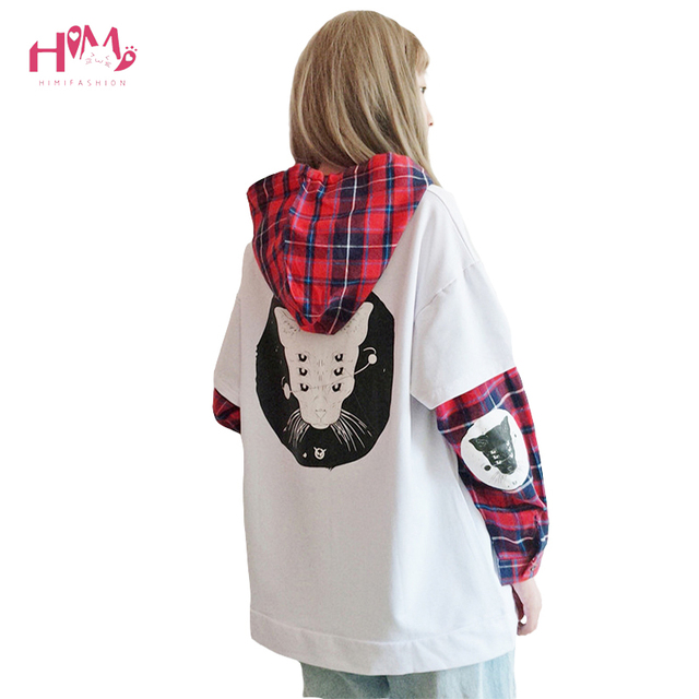 Japanese Cute Street Fashion Women Sweatshirt Harajuku Kawaii Cat Print Plaid Hoodies Black Tracksuit Pullover Female Sweatshirt