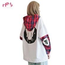 Gothic Nette Streetwear Frauen Hoodies Harajuku Kpop Kawaii Katze Anime Teen Mädchen Plaid Sweatshirt Vintage Schwarz Weibliche Pullover