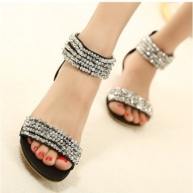 bc0dd04a3241 Cheap Price Luxury Fashion Diamond Ankle Wrap Women Low Heels Sandals Shoes  With Hasp Free shipping