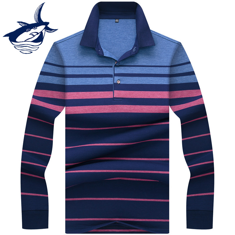 New 2019 High Quality Tace & Shark Brand Polo Shirt Men Business Style Lapel Striped Long Sleeve Polo Shirts hombre