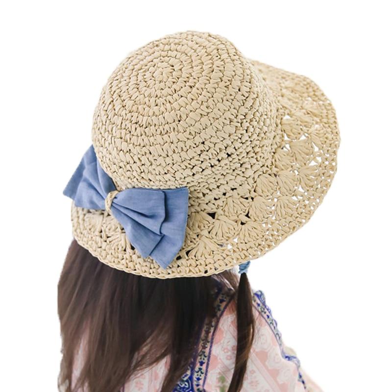 2018 Girls Sandy Beach Vacation Sun Hats Kids Bowknot Design fashion Solid Summer Sun Protective Caps 3-8T MZ5765