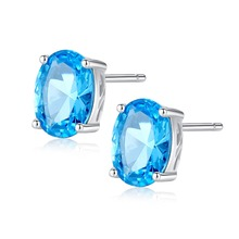 INALIS New Real 925 Sterling Silver Fine Jewelry Natural Oval Light Blue Topaz Stud Earrings for Girl Friend Birthday Gifts