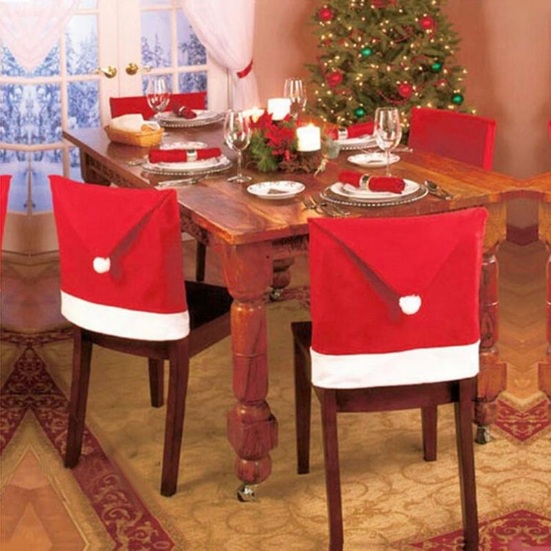 2018 navidad Red Hat Cotton Chair Cover Christmas Dinner Table Party Red Hat Chair Back Covers Christmas Decoration for Home