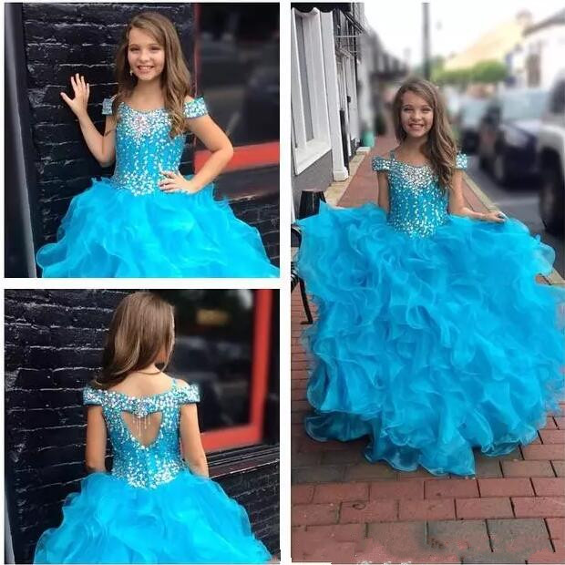 Real Pictures Blue Glitz Girls Pageant Dresses Ball Gown Crystal Beaded Puffy Ruffles Pricness Flower Girls Dresses for WeddingReal Pictures Blue Glitz Girls Pageant Dresses Ball Gown Crystal Beaded Puffy Ruffles Pricness Flower Girls Dresses for Wedding