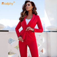 2019 new fashion red white women set sexy long sleeved jacket & pants 2 pieces two piece casual party office pants suit set