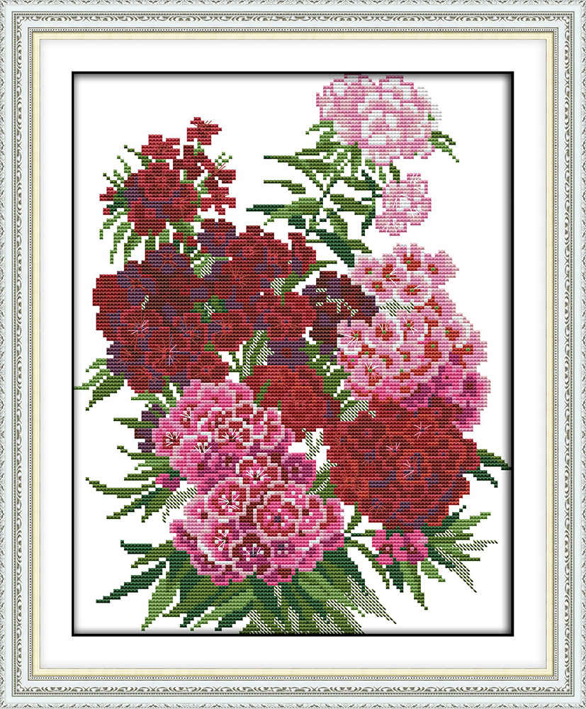 Carnation cross stitch kit 18ct 14ct 11ct count printed canvas stitching embroidery DIY handmade needlework