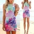 S/m/l/xl outono dress impressão floral festa à noite sem mangas beach dress curto mini dress for mulheres