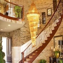 hot deal buy   vintage loft stairs crystal pendant lights modern large led hanging lamps retro crystal luxury villa hotel hall pendant lights