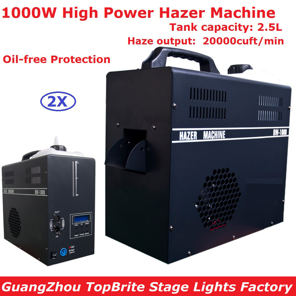 2Pack Free Shipping Mist Haze Machine 1000W 2.5L Professional Hazer Fog Machine Equipments For Party Wedding Christmas Projector