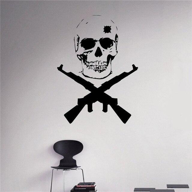 Military Badge Vinyl Decal Skull Crossed Weapons Wall ...