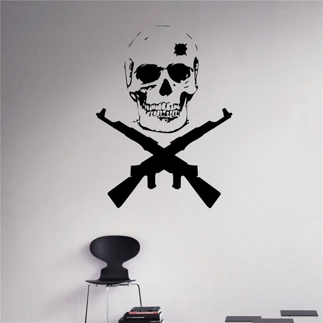 Military Badge Vinyl Decal Skull Crossed Weapons Wall Sticker Army Home Wall Interior Bedroom Decor Wall