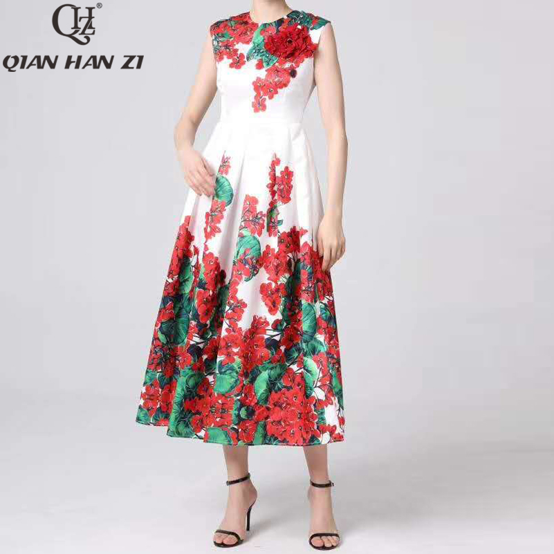 Qian Han Zi Designer Runway Maxi jurk vrouwen Mouwloze Vintage Bloemenprint Slanke Applique Elegante lange Jurk 4XL Plus size-in Jurken van Dames Kleding op  Groep 1