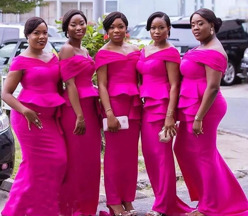 2019 African Fuchsia Mermaid   Bridesmaid     Dresses   Plus Size Off The Shoulder Peplum Tiered Stain Maid Of Honor   Dress   For Wedding