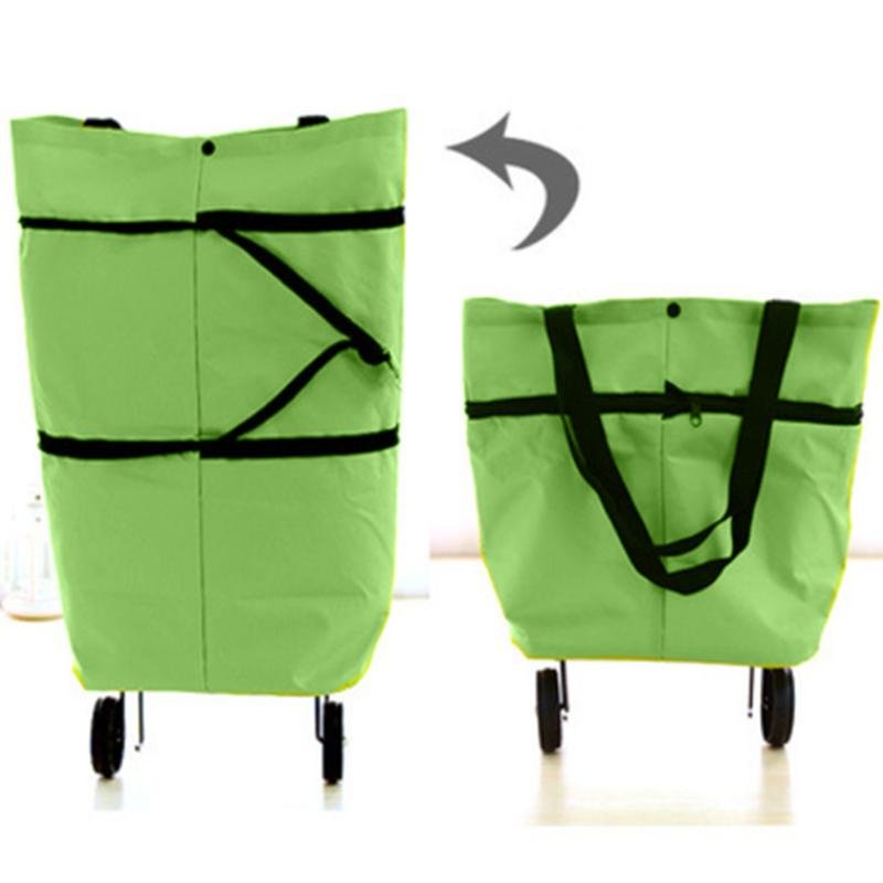 Lightweight Portable Foldable Shopping Trolley Cart Handbag With Wheels Supermarket Purchase Grocery Shop Bags For Home
