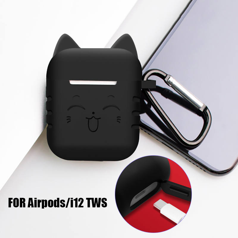 Lovely accessories on <font><b>i9</b></font> i9s i10 pro i10s i11s i13 i19 <font><b>TWS</b></font> Earphone carry cover silicone case for Apple iphone Airpods coque image