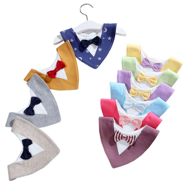 Baby Bibs Burp Cloth Bow-tie Triangle Baby Bibs Cotton Bandana Accessories Saliva Towel