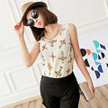 Stylish 2015 Women Crop Top Women Casual Chiffon Sleeveless Shirt Cross Blouse Tank Tops For lady  Vest Clothes