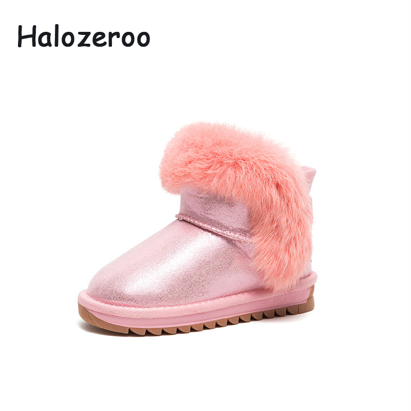 Halozeroo Winter New Baby Girl Pink Snow Boots Kid Fur Ankle Boots Children Pu Leather Warm Shoes Fashion Soft Brand Sweet BootsHalozeroo Winter New Baby Girl Pink Snow Boots Kid Fur Ankle Boots Children Pu Leather Warm Shoes Fashion Soft Brand Sweet Boots