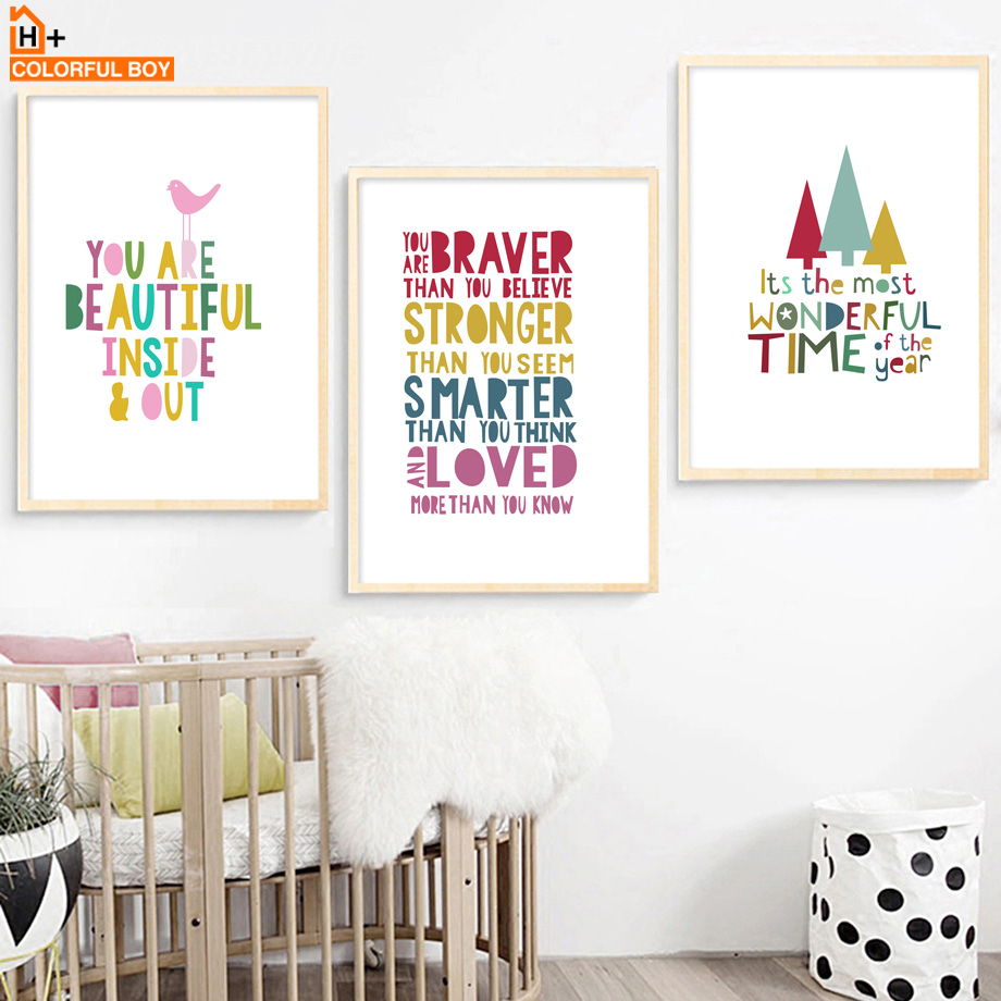 Nursery Ideas And Décor To Inspire You: Cartoon Inspirational Quotes Wall Art Canvas Painting
