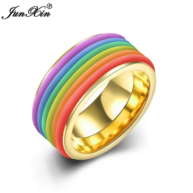 junxin hot sale gay pride rainbow stainless steel ring for men round male wedding engagement rings - Rainbow Wedding Rings